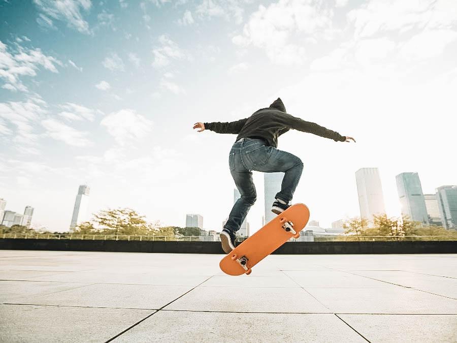 A person doing skateboarding tricks