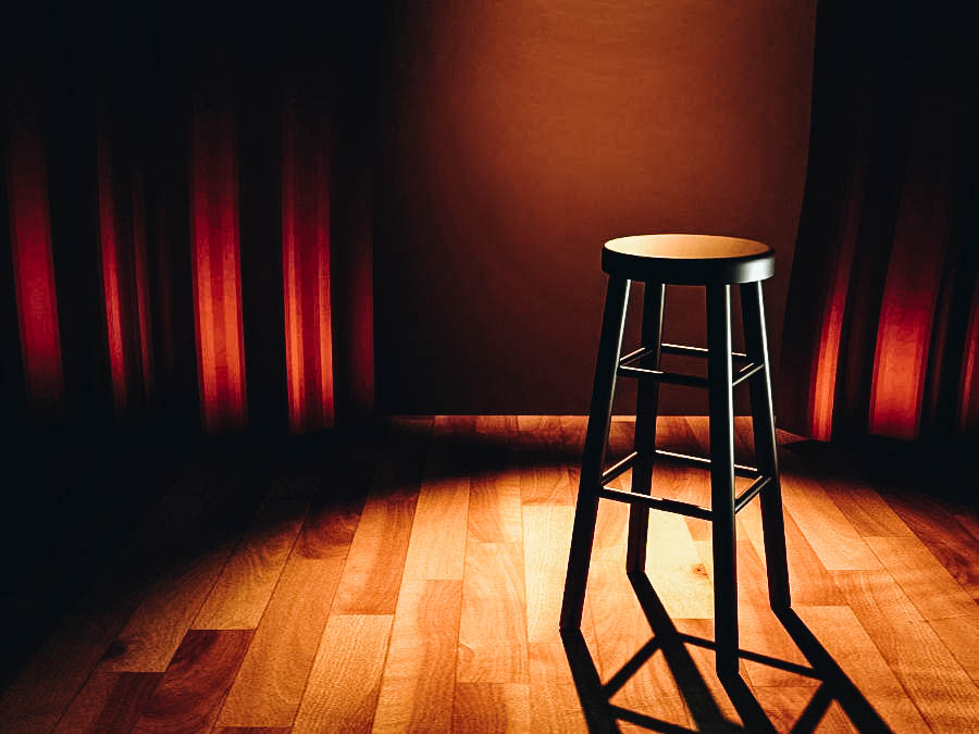 A stool chair on a stage