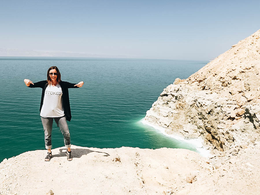 Annette on the Dead Sea's shore
