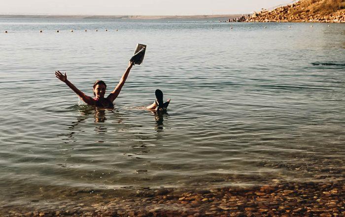 Annette floating on the Dead Sea, Jordan