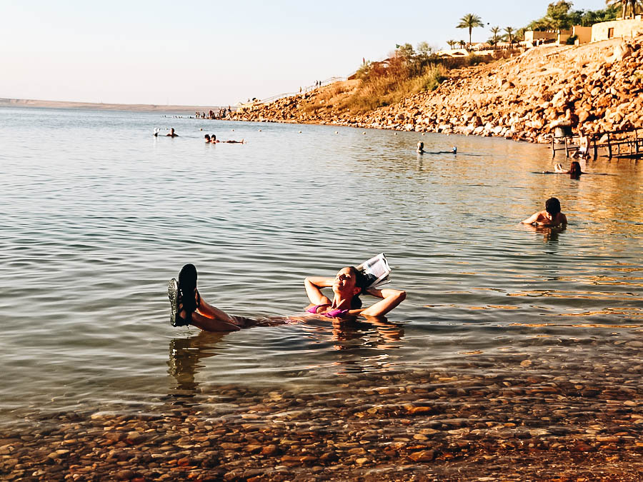 Annette floating on the Dead Sea, Jordan