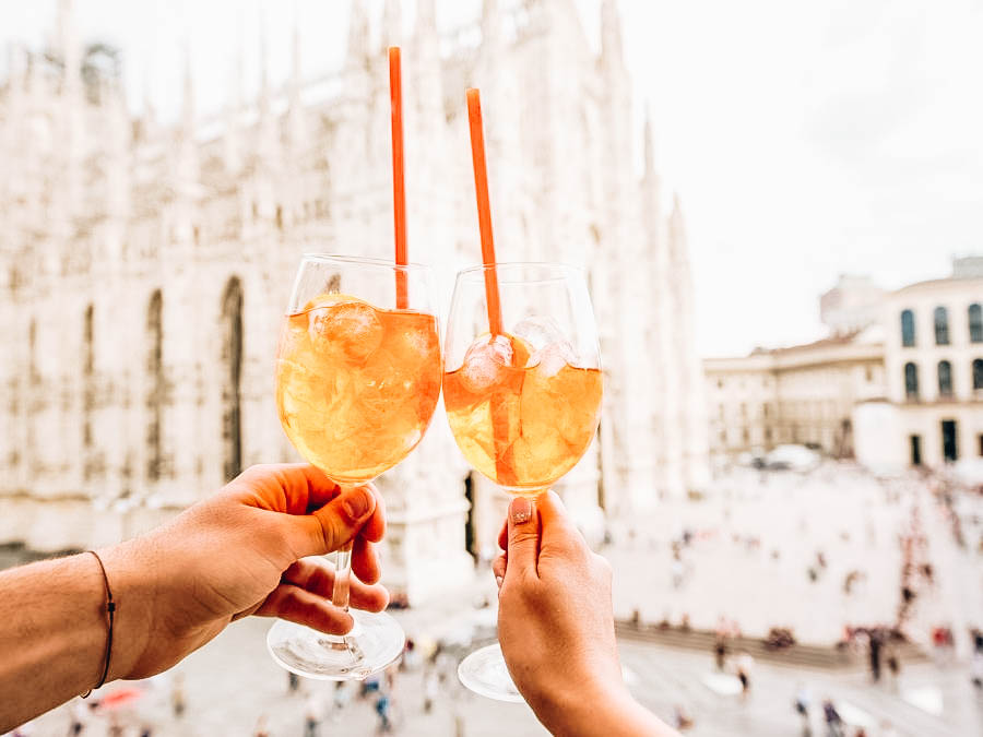 A toast of Aperol Spritz in Milan