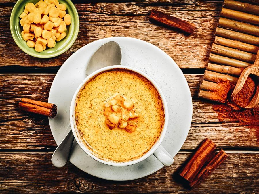 Warm Atole on a mug