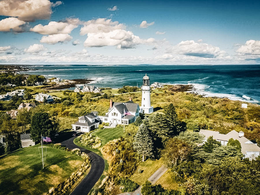 An aerial shot of the Cape Elizabeth Lighthouse