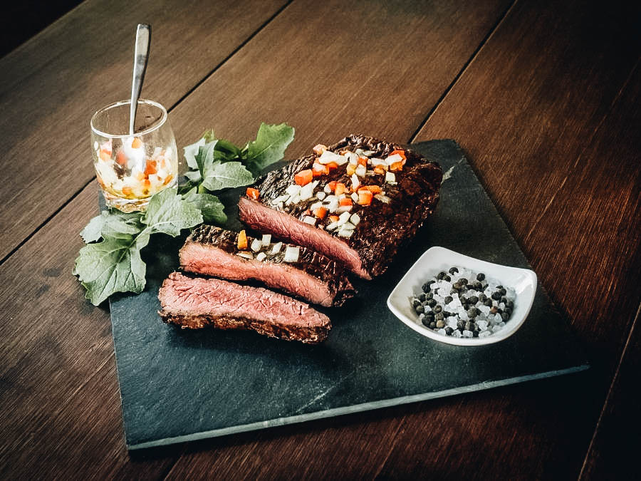 Carne Asada serves with salt and pepper