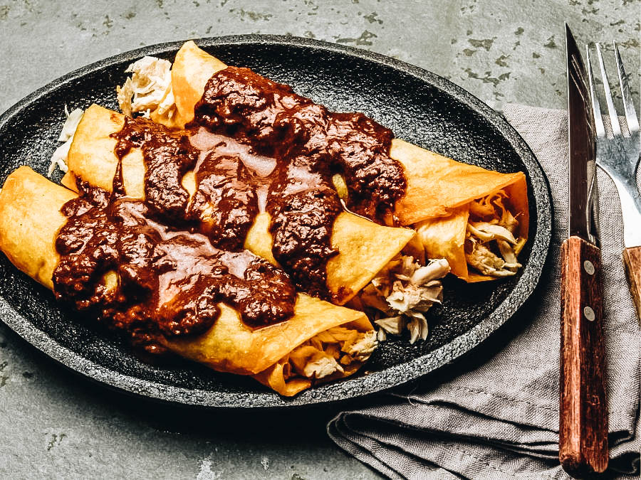 Enchiladas with savory sauce