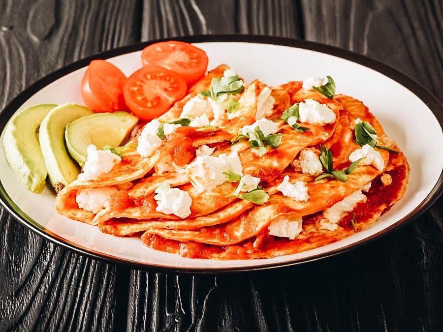 Entomatadas on white plate