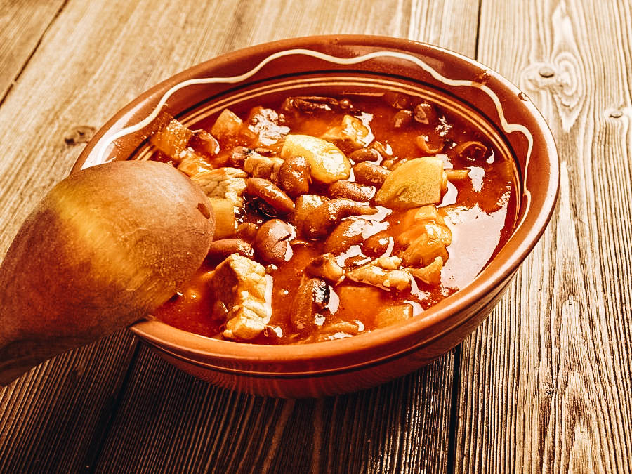 Frijoles Charros or pinto beans stewed with onion, garlic, and bacon.