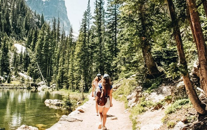 A mother and daughter going on a hiking trip