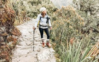 Annette hiking on Inca Trail, Peru