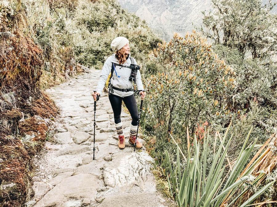 Annette hiking on Inca Trail, Peru