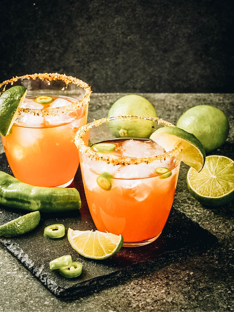 Michelada drink with lime