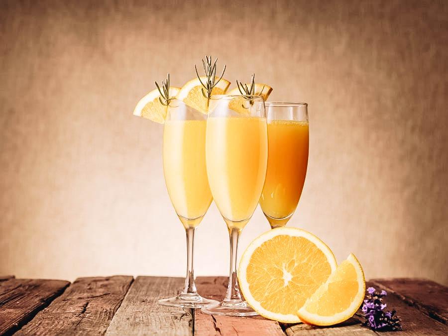 Three glasses of Mimosa