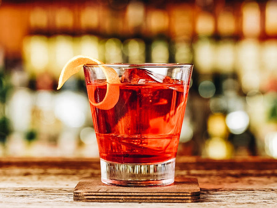 A Negroni Cocktail on a bar table