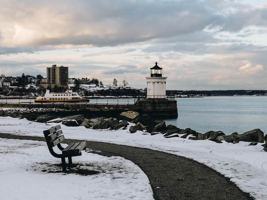 A view of Portland Breakwater Bug Lighthouse during winter