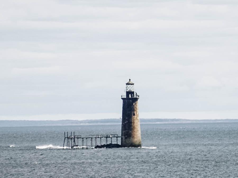 A shot of Ram Island Ledge Lighthouse