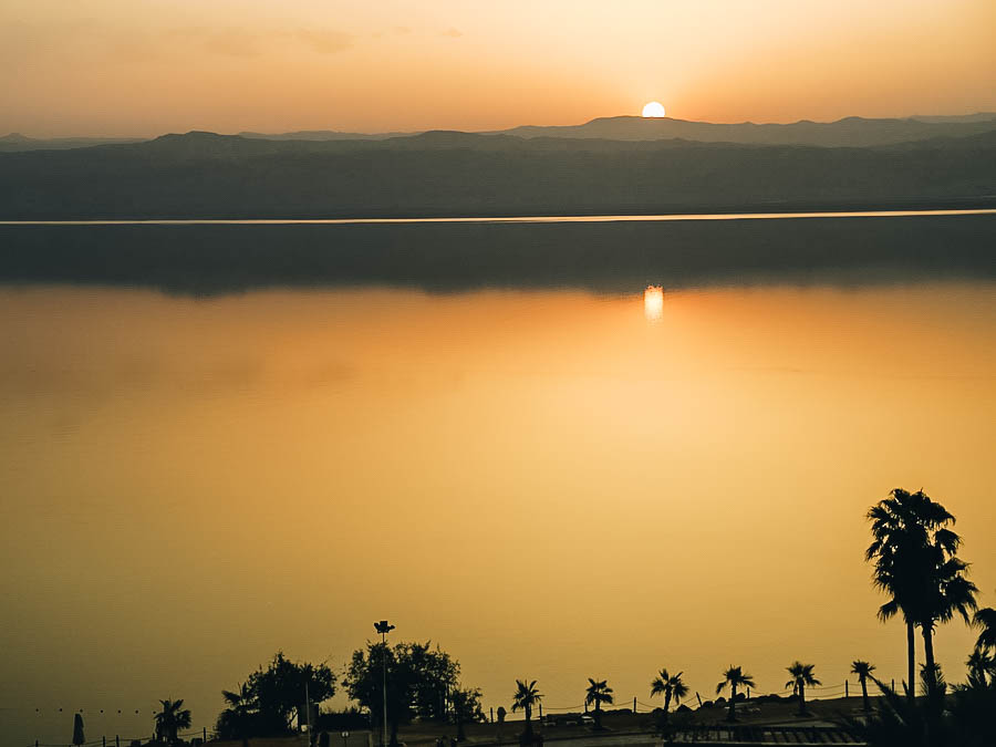 A great view of sunset on the Dead Sea