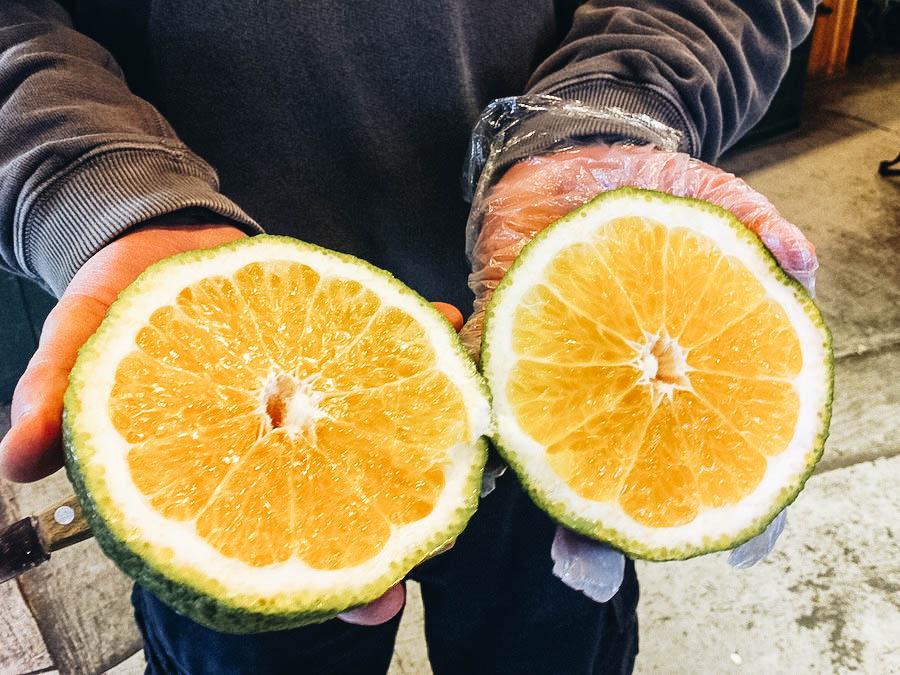 Image of an open Ugli fruit