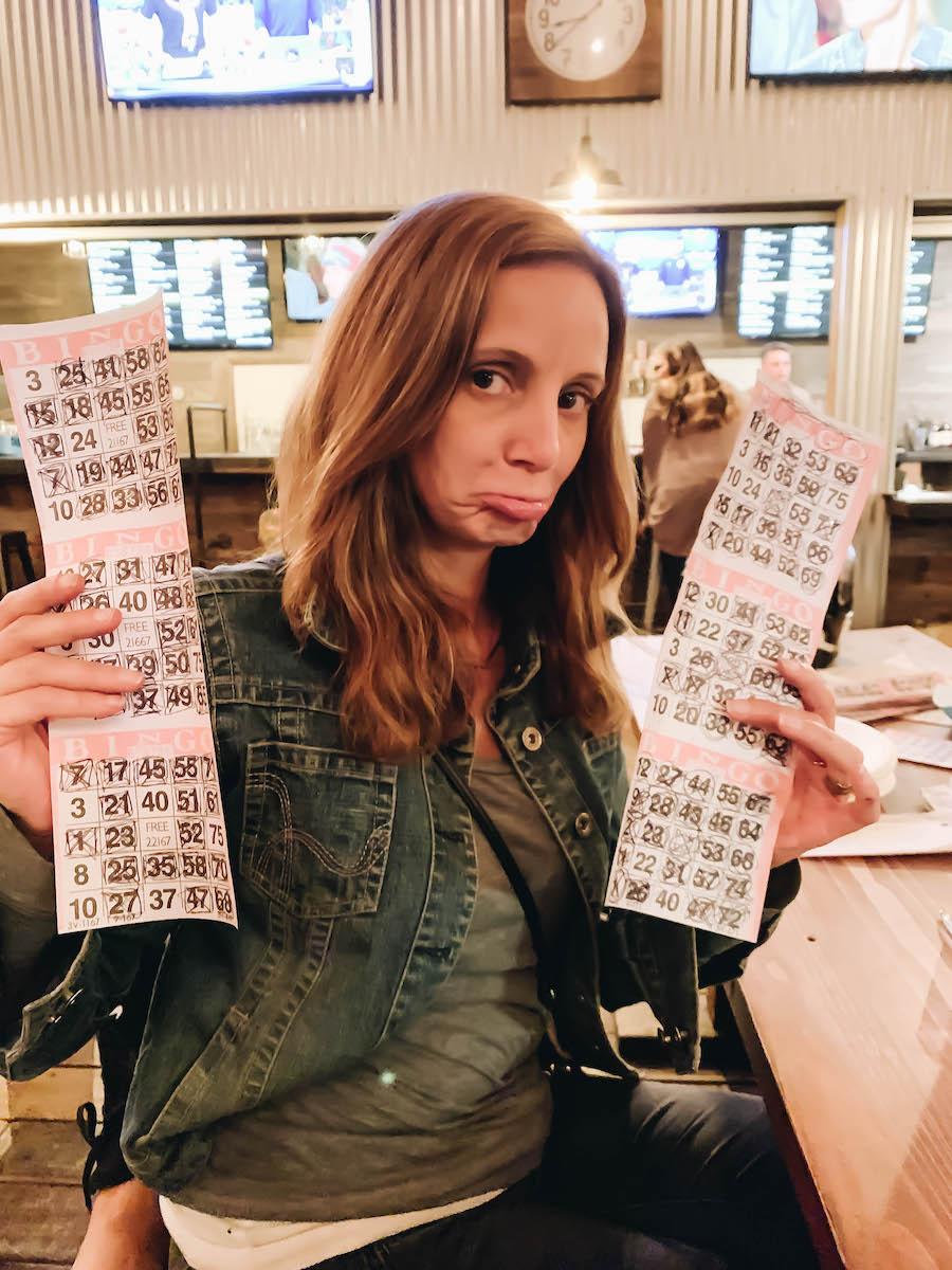 Annette showing her Bingo cards