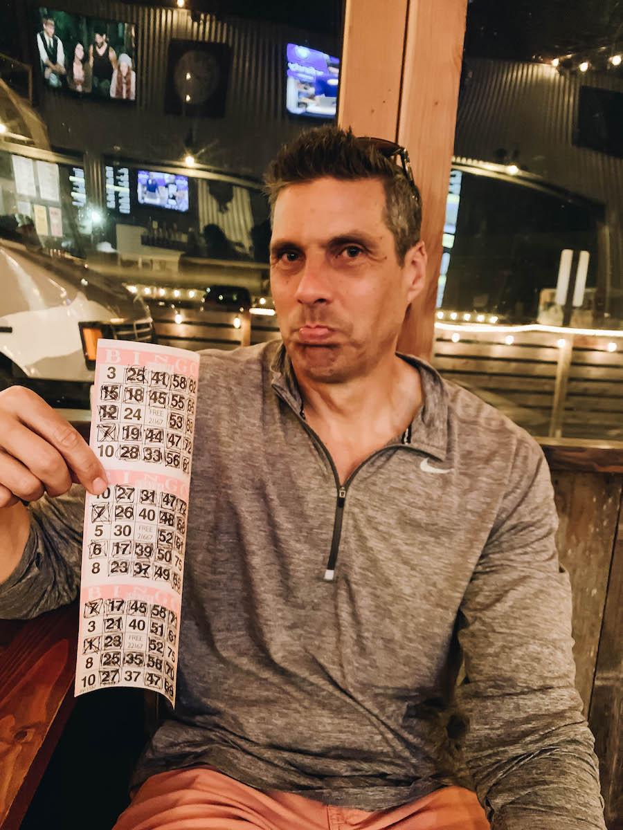 Peter showing his Bingo card