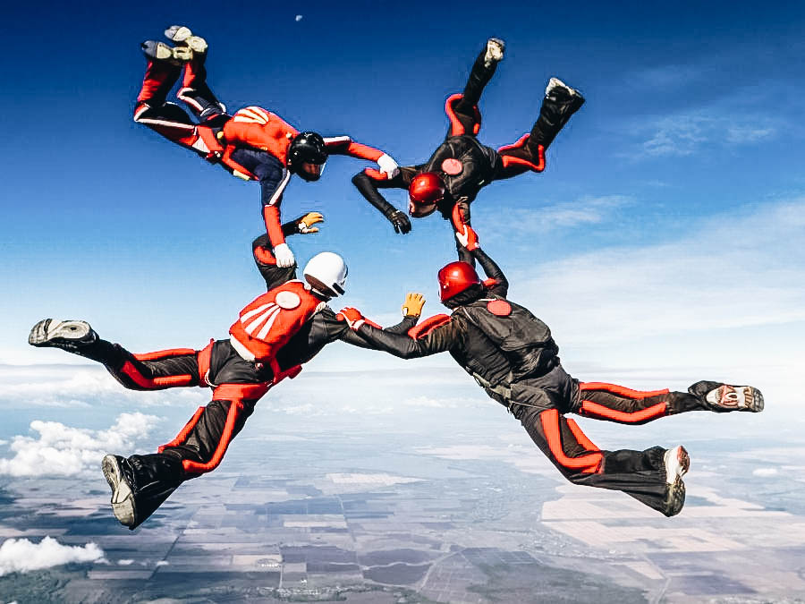 A group people skydiving