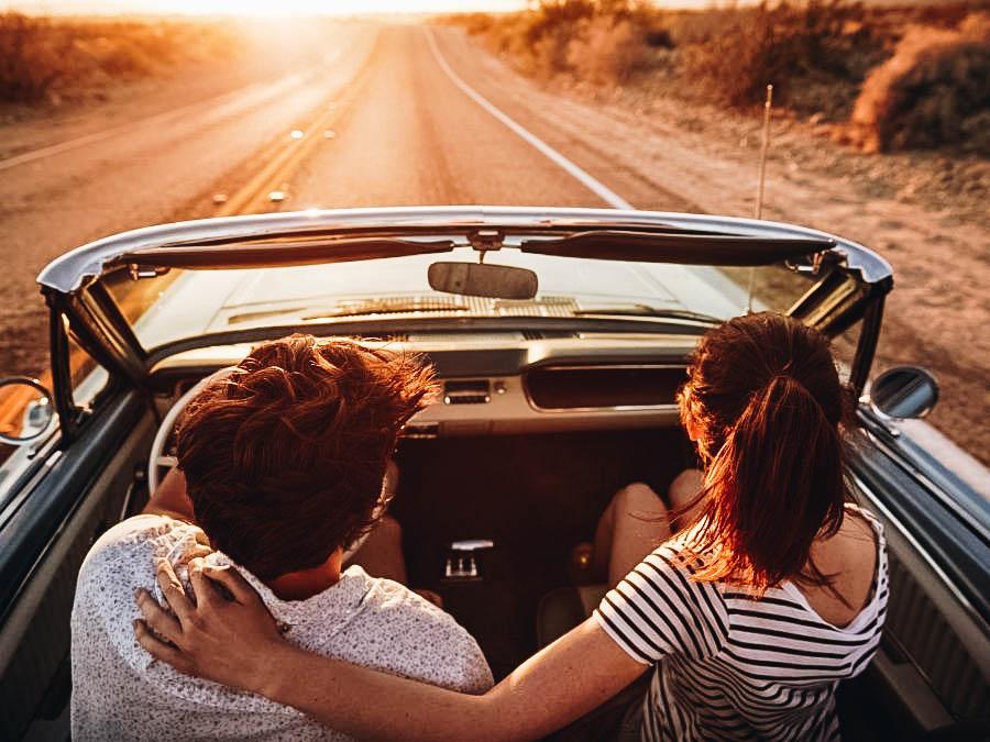 A couple having a road trip