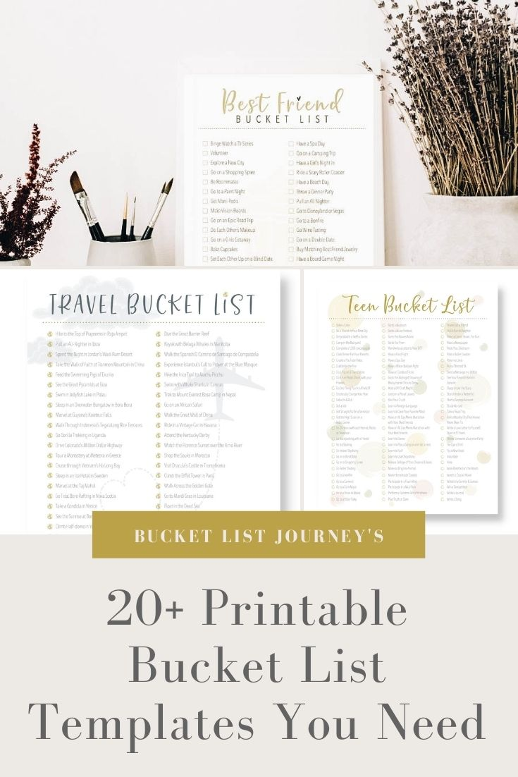 The Best Printable Bucket List Templates For All Your Goals