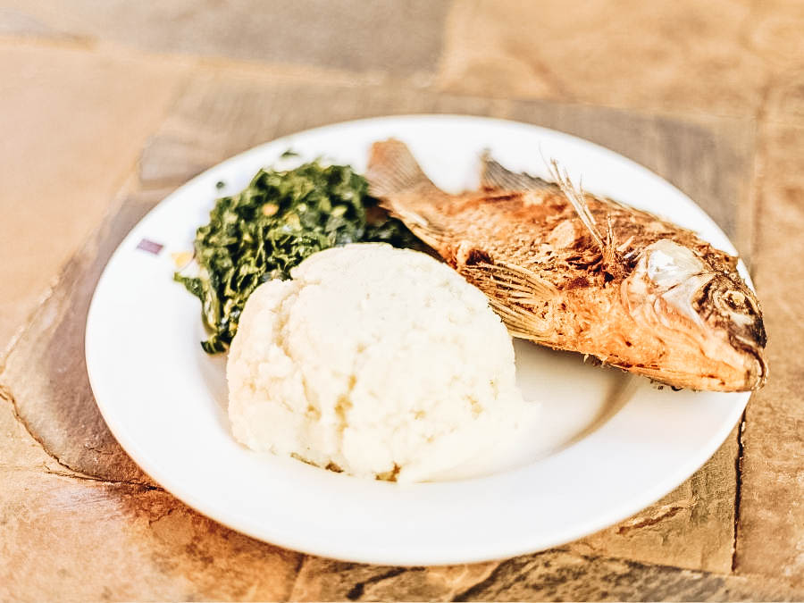 A serving of Ugali with fish