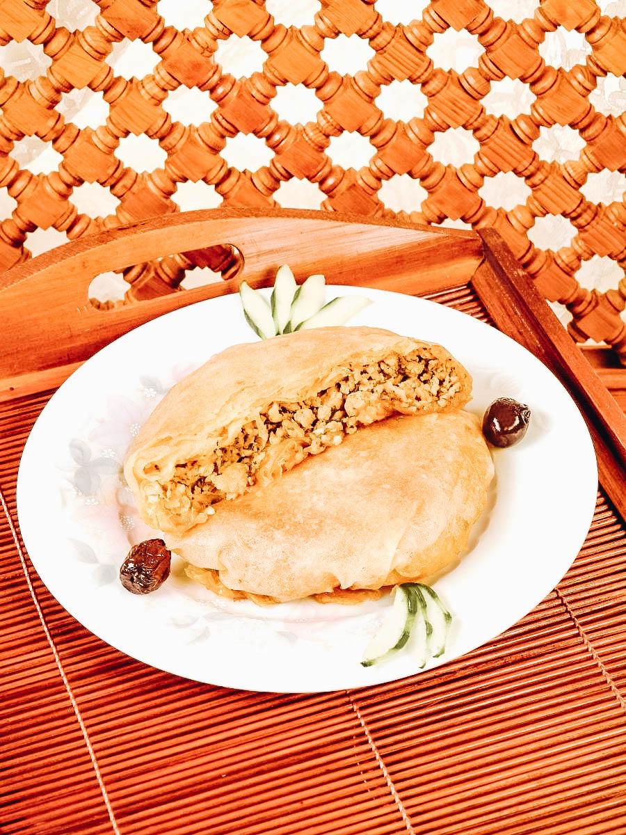 Bastilla pie made with warqa dough