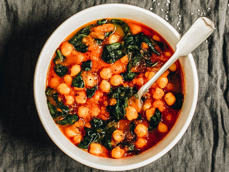 Chickpea Stew on a white bowl