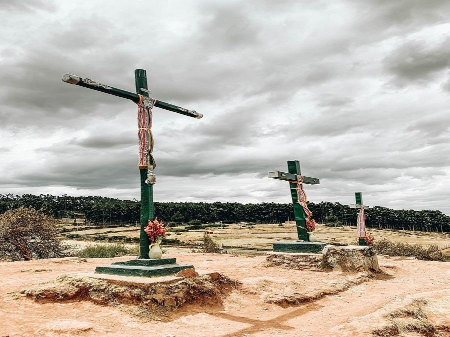 Three crosses at Cristo Blanco Cusco Peru