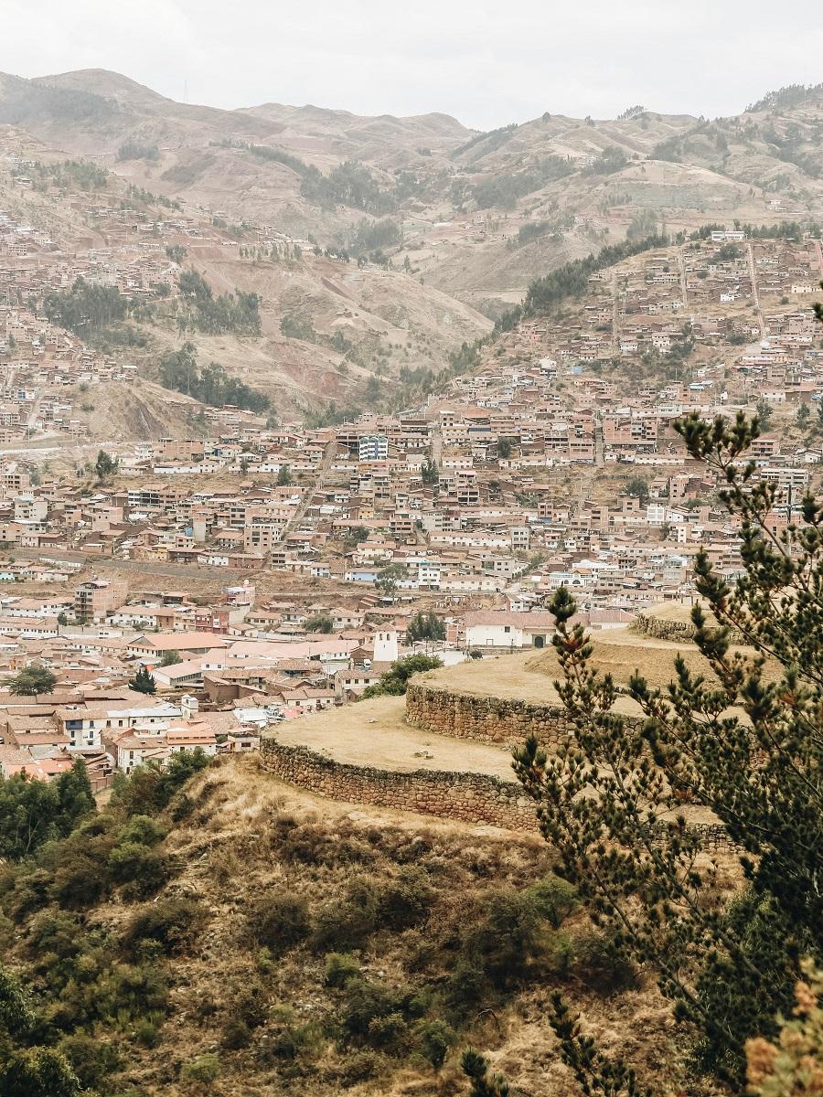 A view at Cristo Blanco Cusco Peru