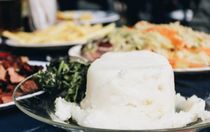 A serving of Ugali on a restaurant