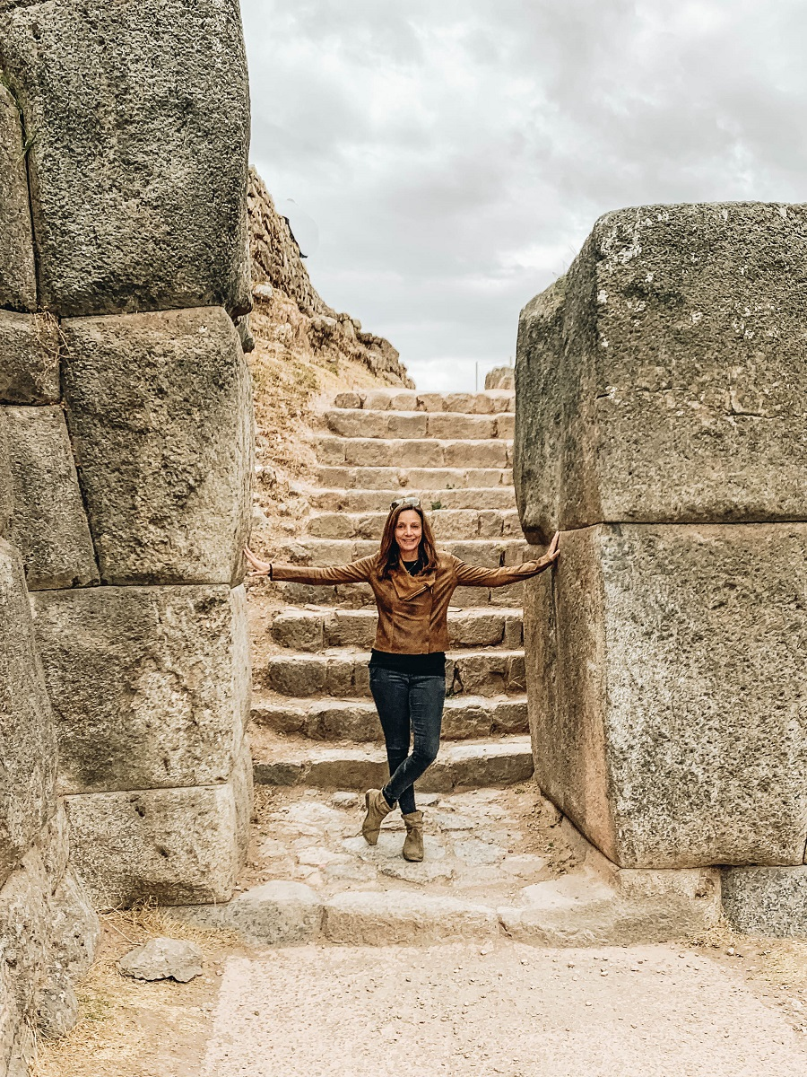 Annette exploring the Ruins of Sacsayhuaman