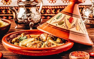 Tagine on a traditional Moroccan plate