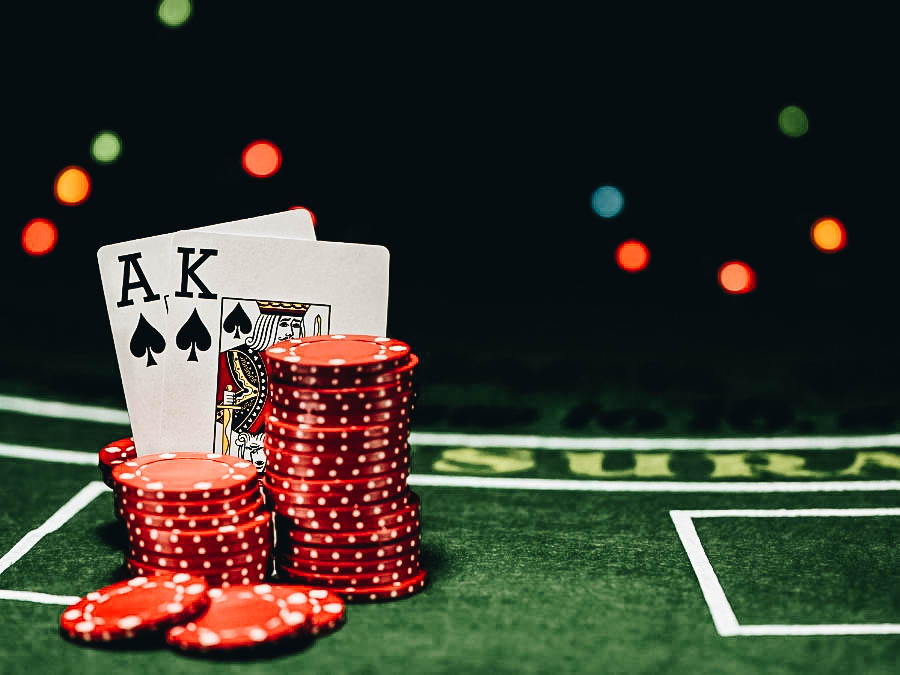Card and chips used on playing blackjack
