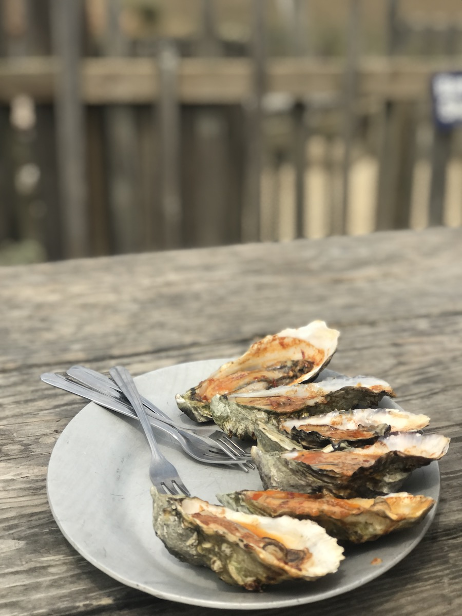 Cooked Oyster served on Hog Island
