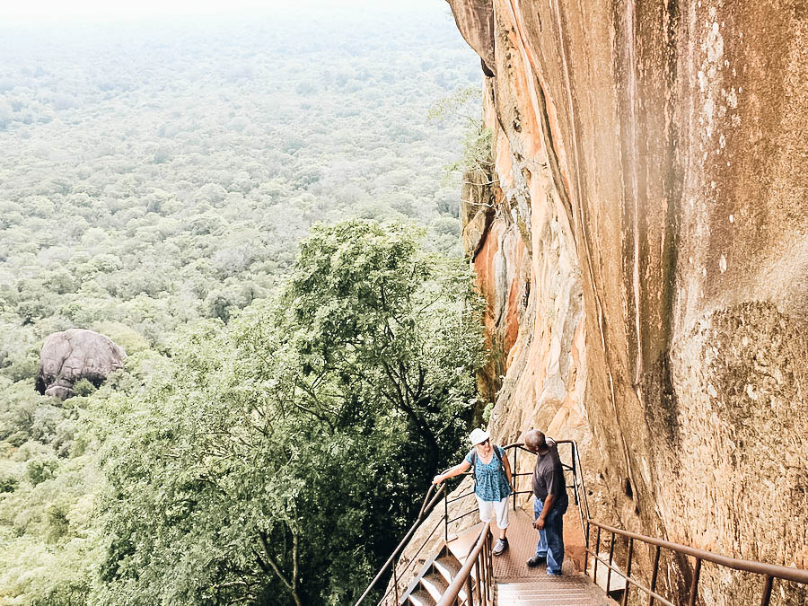 A view of the stairs in Sigiriya