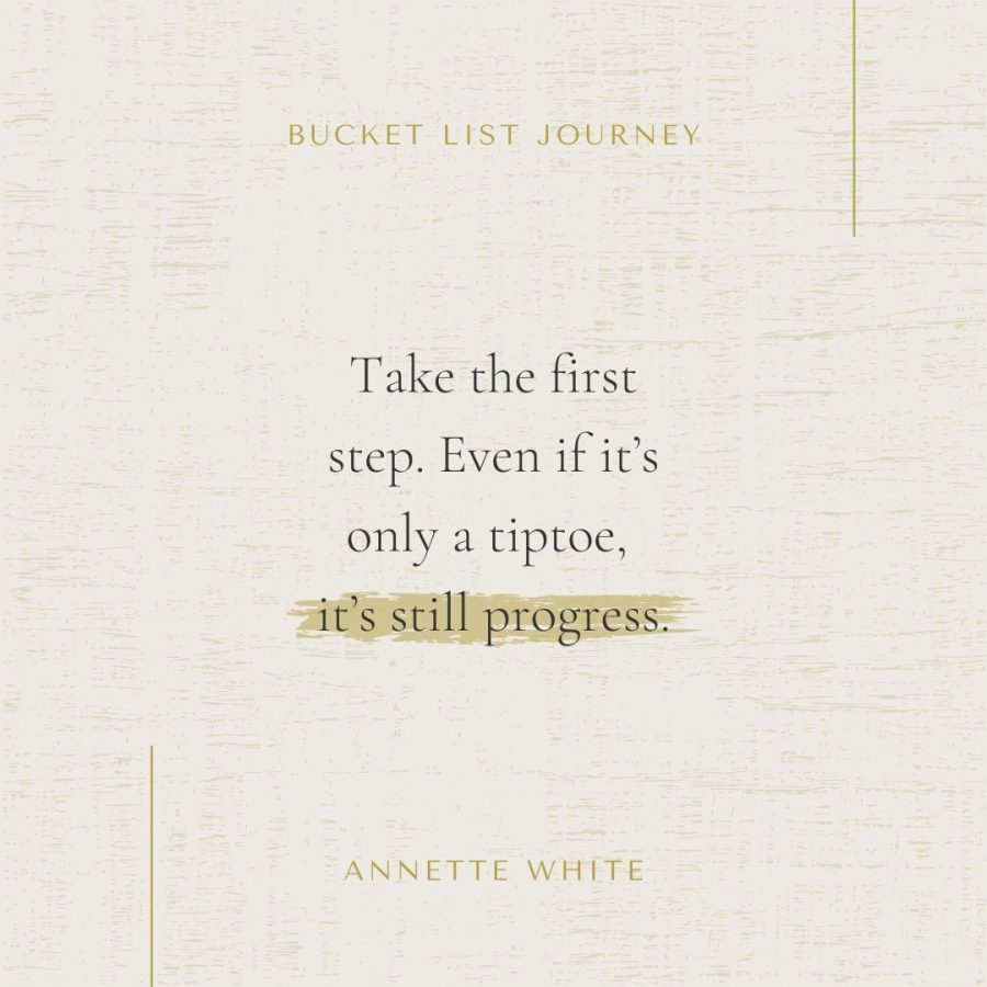 Take the first step. Even if it's only a tiptoe, it's still progress
