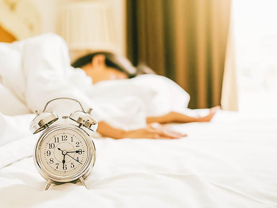 A woman sleeping early