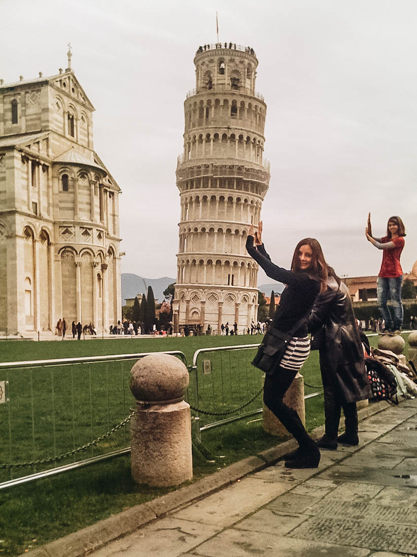 Annette posing near Leaning Tower of Pisa