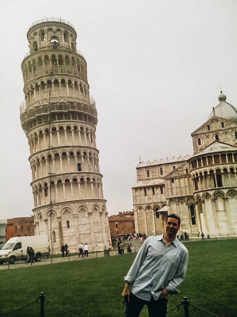 Peter posing near Leaning Tower of Pisa