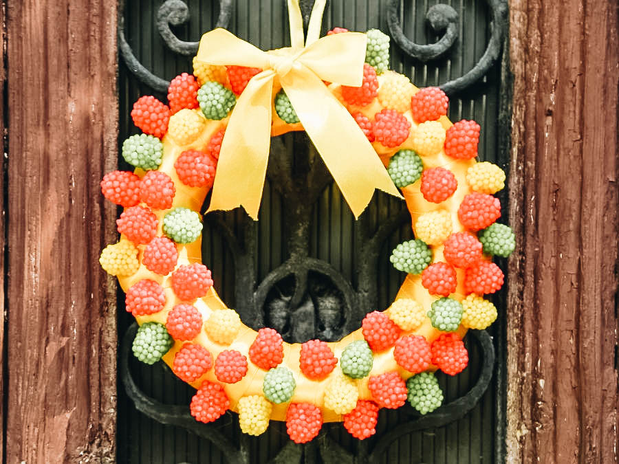 Cute wreath made out of candy