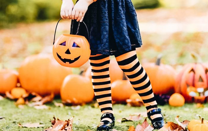 Cute little girl ready for Trick or Treat