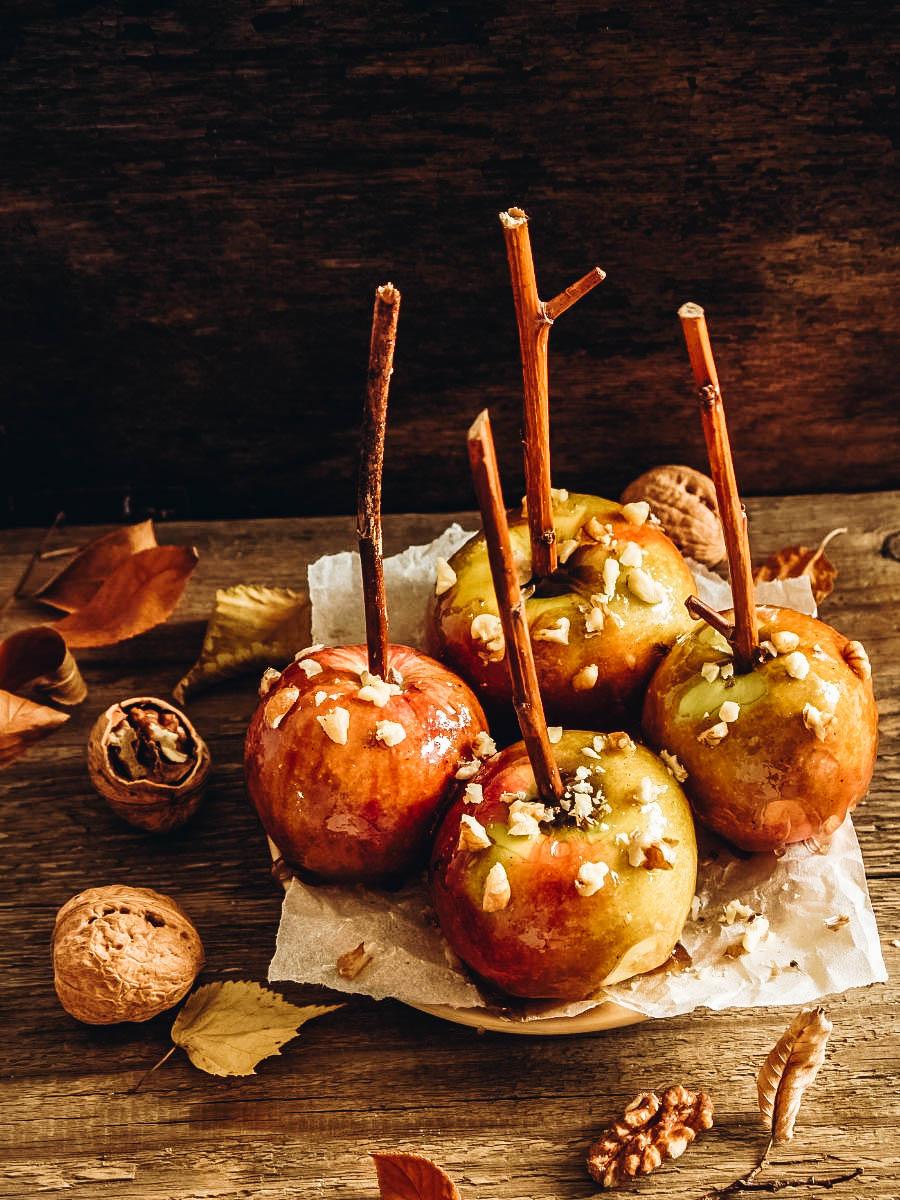 Caramel apples on a table