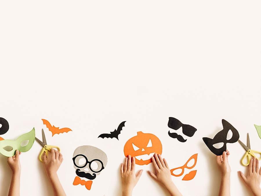 Kids creating a Halloween mask