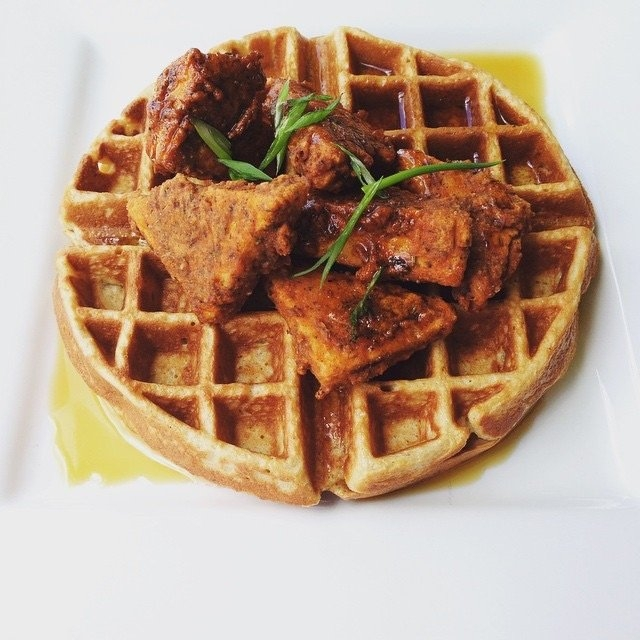 sweet potato waffle and chicken