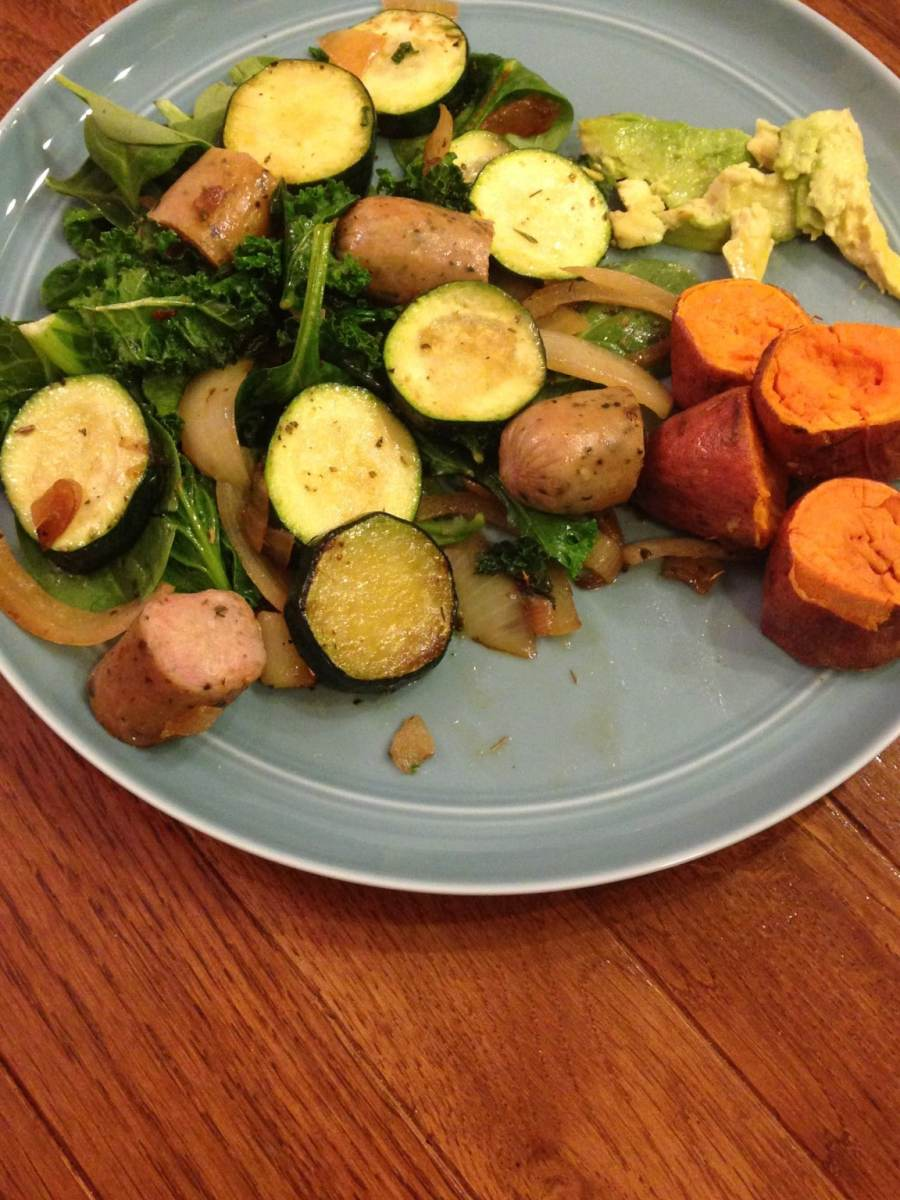 Chicken sausage with veggies, sweet potato and avocado