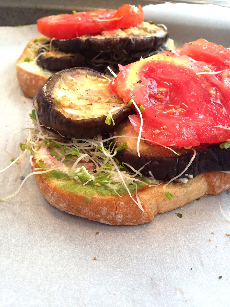 Creamy Eggplant Veggie Sandwich