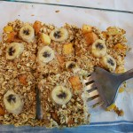 baked oatmeal, breakfast bake, banana peach oatmeal